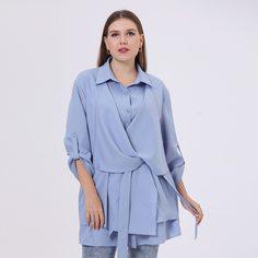 с поясом Одноцветный Элегантный Блузы размер плюс Shein