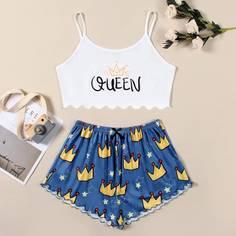 Пижама с принтом короны Shein