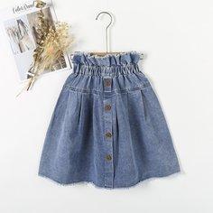 Необработанный низ Одноцветный Джинсовые юбки для девочек Shein