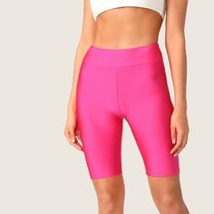 Неоновые розовые велосипедные шорты на резинке Shein