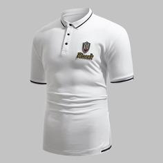 Мужская рубашка-поло с оригинальным принтом Shein