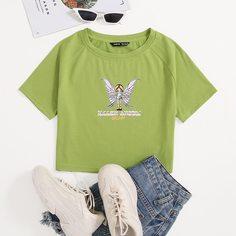 Кроп футболка с текстовым и мультипликационным принтом Shein