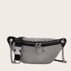 Регулируемый со стразами Одноцветный Модный Поясные сумки Shein