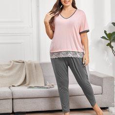 Пижама размера плюс с кружевом Shein