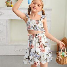 Пояс Со цветочками Бохо Комплекты для девочек Shein