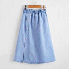 на пуговицах Одноцветный Джинсовые юбки для девочек Shein