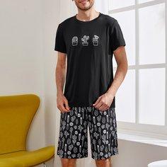 Мужская пижама с принтом кактуса Shein