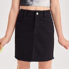 на молнии Одноцветный Джинсовые юбки для девочек Shein
