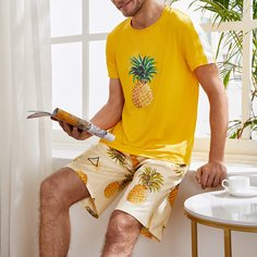 Мужская пижама с принтом ананаса Shein