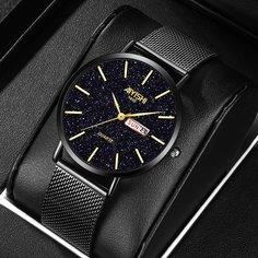 Мужские кварцевые часы с календарем и циферблатом звездного неба Shein