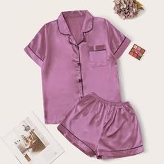 Контрастная атласная пижама Shein