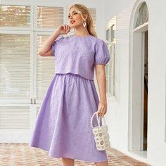 Топ с пышными рукавами и юбка размера плюс Shein