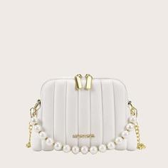 Стеганая сумка на плечо с искусственным жемчугом Shein