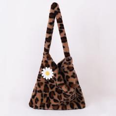 Плюшевая сумка на плечо с леопардовым принтом и цветком Shein
