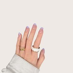 24шт Двухцветные накладные ногти и 1шт пилочка для ногтей и 1 лист ленты Shein