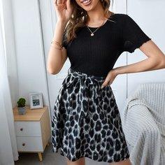 с поясом Леопардовый принт Повседневный Платье Shein