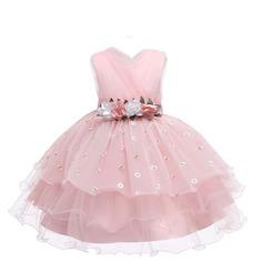 Вечернее платье с аппликацией и вышивкой маргаритки для девочек Shein