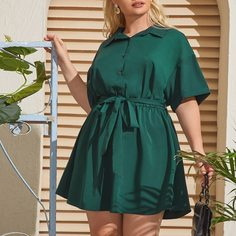 Платье-рубашка размера плюс с поясом Shein