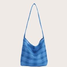 Холщовая сумка на плечо в клетку Shein
