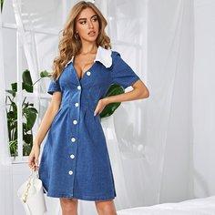 Джинсовое платье с контрастным вырезом Shein