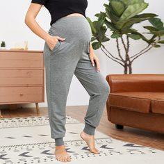 Однотонные спортивные брюки с карманом для беременных Shein