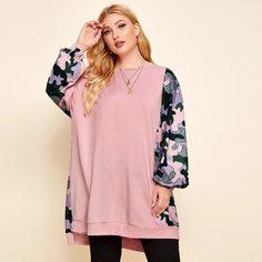 Асимметричный пуловер размера плюс с рукавом фонариком Shein