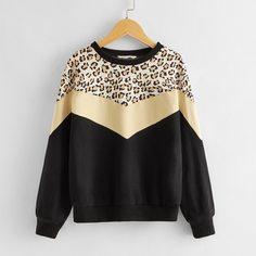 Пуловер с леопардовым принтом для девочек Shein