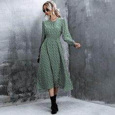 Платье с оригинальным рукавом и цветочным принтом Shein