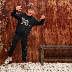 Пуловер с принтом тигры и джоггеры для мальчиков Shein