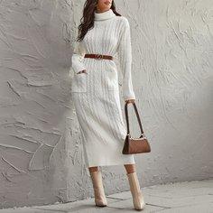 Вязаное платье-свитер с высоким воротником без пояса Shein