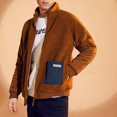 Мужская флисовая куртка на молнии с передним карманом Shein