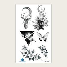 Со цветочками Татуировки Shein