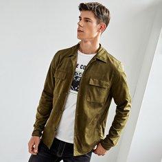 Мужская замшевая куртка с клапаном и карманом Shein