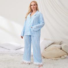 с карманами Полосатый Повседневный Пижама размер плюс Shein