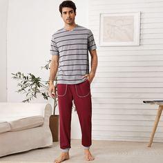 на пуговицах Полосатый Повседневный Мужская домашняя одежда Shein
