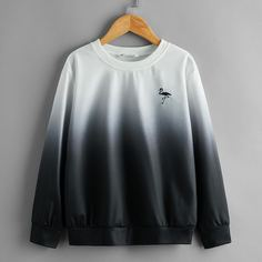 Пуловер с вышивкой фламинго для мальчиков Shein