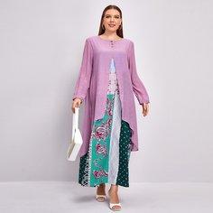 Цветочный Повседневный Платья размер плюс Shein