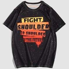 Мужская контрастная футболка с текстовым принтом Shein