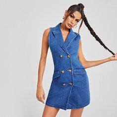 Джинсовое платье с пуговицами Shein