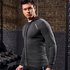 Мужская спортивная куртка на кулиске с капюшоном и текстовым принтом Shein