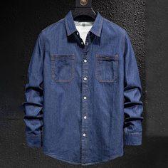 Карман Одноцветный Повседневный Мужские джинсовые рубашки Shein