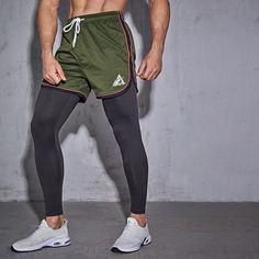 Мужские 2 в 1 спортивные брюки на кулиске Shein