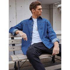 Пуговица Одноцветный Повседневный Мужские джинсовые рубашки Shein
