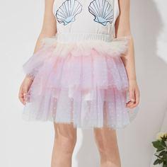 Сетчатая юбка для девочек с эластичной талией Shein