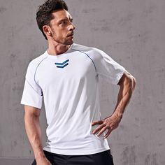 Мужская спортивная футболка с геометрическим узором и окантовкой Shein