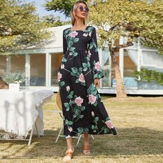 Платье с принтом растений Shein