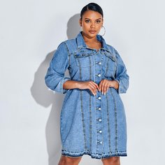 Джинсовое платье размера плюс с пуговицами и карманом Shein