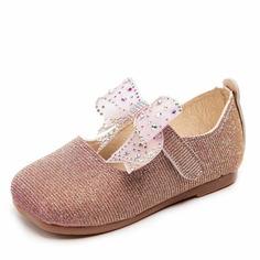 Туфли на плоской подошве со стразами и бантом для девочек Shein