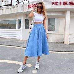 на молнии Одноцветный Джинсовые юбки Shein
