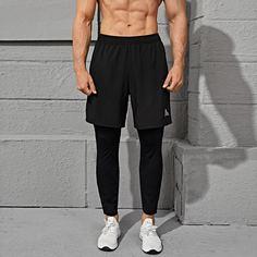 Мужские 2 в 1 спортивные брюки с текстовым принтом Shein
